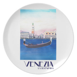 Venice Italy Gondola on Grand Canal with San Marco Plate