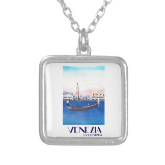 Venice Italy Gondola on Grand Canal with San Marco Silver Plated Necklace