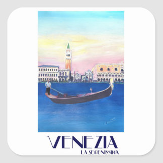 Venice Italy Gondola on Grand Canal with San Marco Square Sticker
