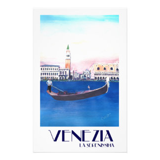 Venice Italy Gondola on Grand Canal with San Marco Stationery