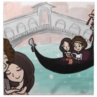 Venice Italy Gondola Ride Napkin