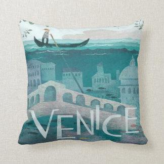 venice Italy Gondola travel vacation retro Throw Pillow
