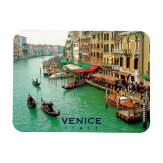 Venice, Italy - Gondoliers On Grand Canal Magnet