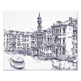 Venice, Italy, in ink Photo Art