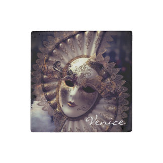 Venice, Italy (IT) - Mysterious Carnival Mask Stone Magnets