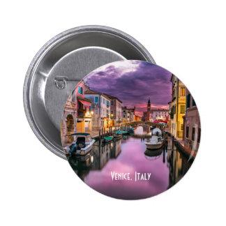 Venice, Italy Scenic Canal & Venetian Architecture 2 Inch Round Button