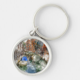 Venice Italy Silver-Colored Round Keychain