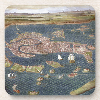 VENICE: MAP, 16TH CENTURY BEVERAGE COASTER
