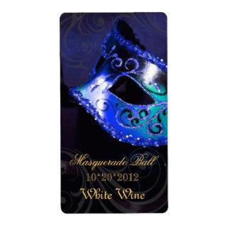 Venice Masquerade Blue Wine Holiday Label