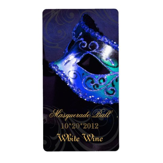 Venice Masquerade Blue Wine Holiday Label