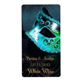 Venice Masquerade Teal Wine Wedding Label