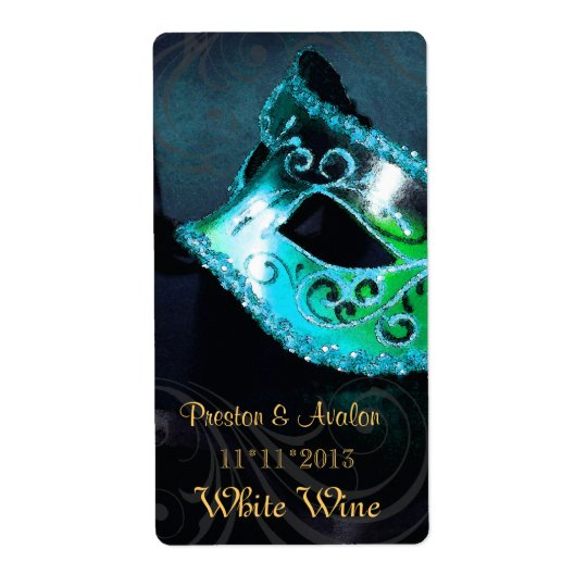 Venice Masquerade Teal Wine Wedding Label Shipping Label