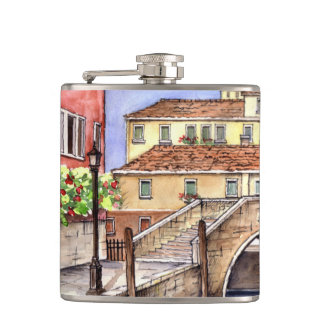 Venice Pen & Wash Sketch Illustration Hip Flask