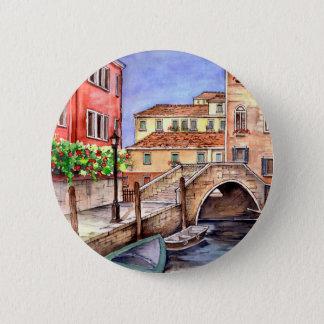 Venice - Pen & Wash Watercolor 2 Inch Round Button