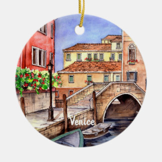 Venice - Pen & Wash Watercolor Ceramic Ornament