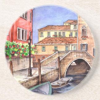Venice - Pen & Wash Watercolor Coaster