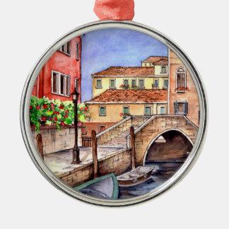 Venice - Pen & Wash Watercolor Metal Ornament