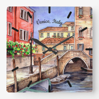Venice - Pen & Wash Watercolor Painting Square Wall Clock