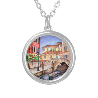 Venice - Pen & Wash Watercolor Silver Plated Necklace