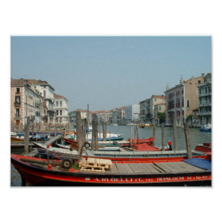 Venice red boats poster