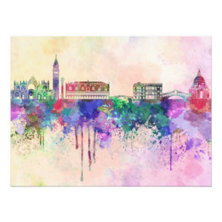 Venice skyline in watercolor background photo print