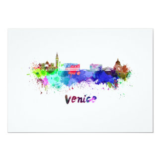 Venice skyline in watercolor card