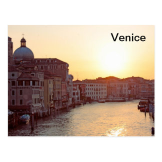 Venice,Sunset on the canal grande Postcard