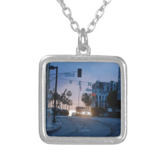 venice sunset silver plated necklace