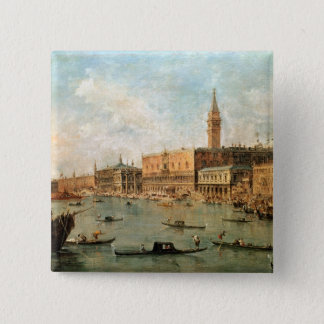 Venice: The Doge's Palace and the Molo from the Ba 2 Inch Square Button