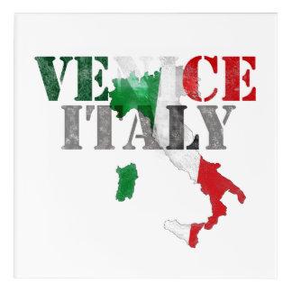 Venice Venezia Italy. Watercolor Art, Distressed Acrylic Wall Art