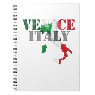 Venice Venezia Italy. Watercolor Art, Distressed Notebook
