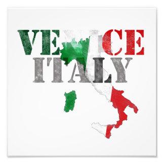 Venice Venezia Italy. Watercolor Art, Distressed Photo Print
