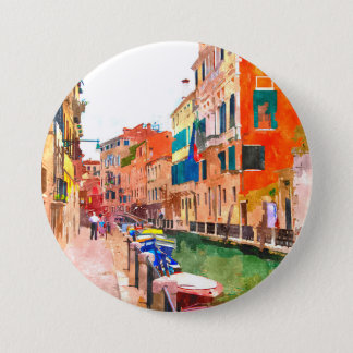 Venice watercolor painting badge 3 inch round button