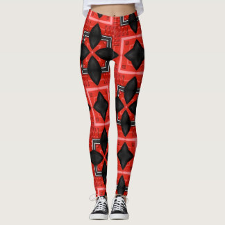 Vents and Chrome Red Geometric Leggings