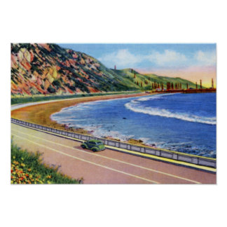 Ventura California Oil Wells Off Shore Poster