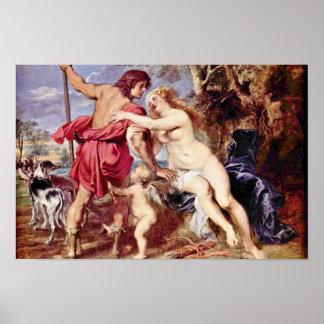 Venus And Adonis By Rubens Peter Paul Poster