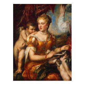 Venus Blindfolding Cupid Postcard