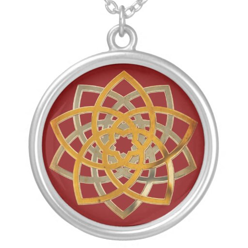 Venus Flower Duo - antique metal, dark red Jewelry