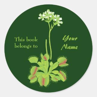Venus Flytrap Floral Bookplate Classic Round Sticker