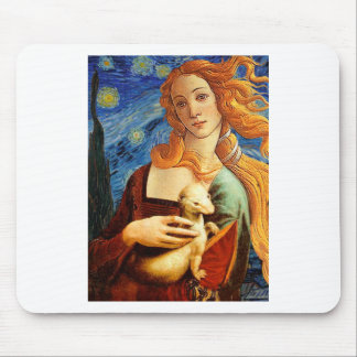 Venus with a Ermine in a Starry Night Mouse Pad