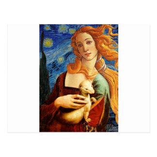Venus with a Ermine in a Starry Night Postcard