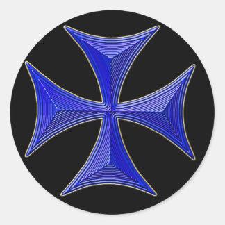 ver 01 knights templar cross - black background round sticker