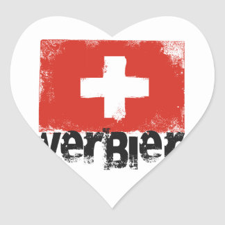 Verbier Grunge Flag Heart Sticker