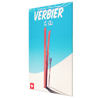 Verbier, Switzerland vintage ski travel poster. Canvas Print