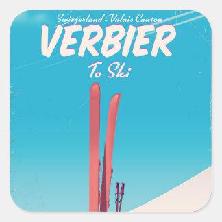 Verbier, Switzerland vintage ski travel poster. Square Sticker