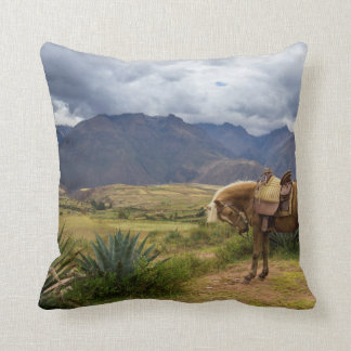 Verdant Sacred Valley Horse Throw Pillow