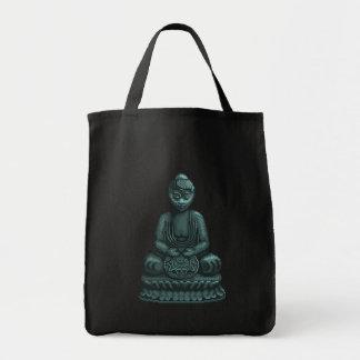 Verdigris Green Buddha Pixel Art Grocery Tote Bag