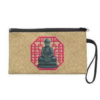 Verdigris Green Buddha Pixel Art Wristlets