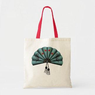 Verdigris Green Dragon Fan Pixel Art Budget Tote Bag