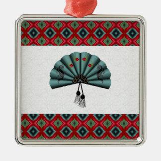 Verdigris Green Dragon Fan Pixel Art Metal Ornament